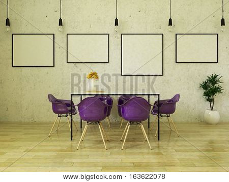 3d render of beautiful dining table with purple chairs on wooden floor in front of a concrete wall with picture frames and suspended lights