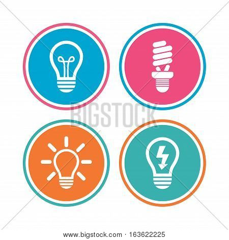 Light lamp icons. Fluorescent lamp bulb symbols. Energy saving. Idea and success sign. Colored circle buttons. Vector