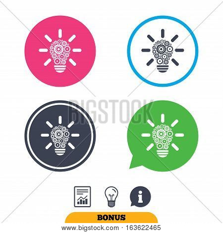 Light lamp sign icon. Bulb with gears and cogs symbol. Idea symbol. Report document, information sign and light bulb icons. Vector