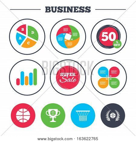 Business pie chart. Growth graph. Basketball sport icons. Ball with basket and award cup signs. Laurel wreath symbol. Super sale and discount buttons. Vector