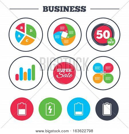Business pie chart. Growth graph. Battery charging icons. Electricity signs symbols. Charge levels: full, half and low. Super sale and discount buttons. Vector