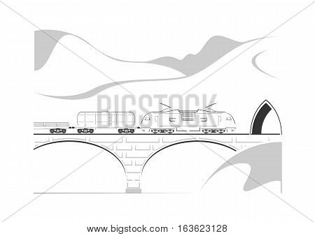 Train, bridge and mountains isolated on white. Vector illustration.