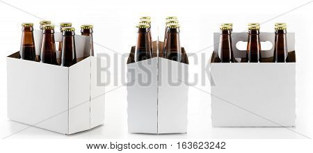 Three different views of six beer bottles in cardboard container with gold caps with reflection in shiny white base