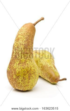 """Two whole uncut """"abate fetel"""" pears over white background poster"""