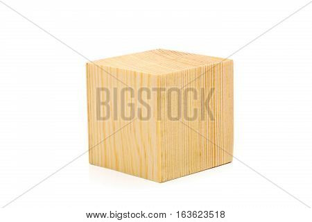 Single brown wooden cube on white background