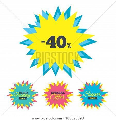 Sale stickers and banners. 40 percent discount sign icon. Sale symbol. Special offer label. Star labels. Vector