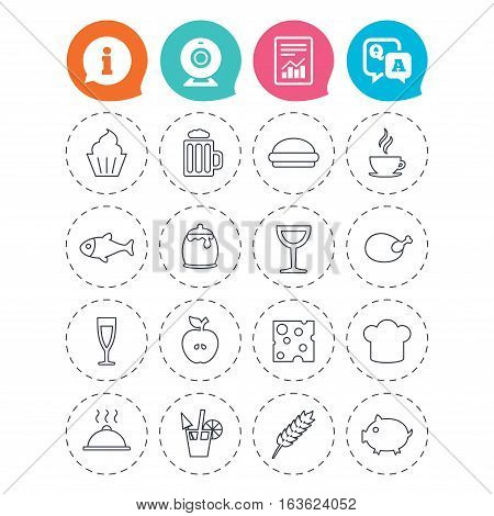 Food and Drinks icons. Beer, coffee and cocktail symbols. Fish and pork meat, hamburger and cheese thin outline signs. Chief hat. Information, question and answer icons. Web camera, report signs
