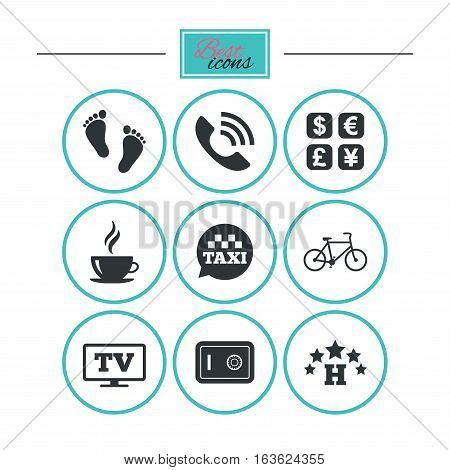 Hotel, apartment services icons. Coffee sign. Phone call, kid-friendly and safe strongbox symbols. Round flat buttons with icons. Vector