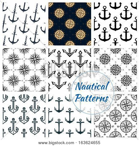 Nautical patterns set of blue anchor, ship helm, navigation compass and wind rose symbol. Heraldic maritime items tile design of marine and sailor vessel naval equipment. Vector seamless background