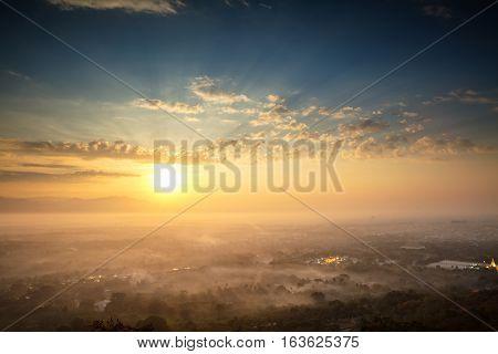 Beautiful scenery during sunrise of top view at Mandalay hill Mandalay Myanmar