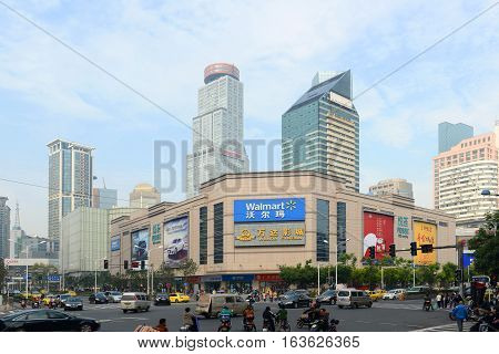 NANJING, CHINA - OCT. 28, 2015: Nanjing Xinjiekou CBD intersection at Hongwu Road and Huaihai Road in downtown Nanjing, Jiangsu Province, China.