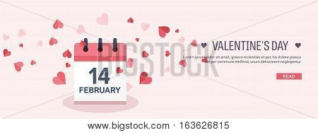 Vector illustration. Flat background with calendar. Love, hearts. Valentines day. Be my valentine. 14 february.
