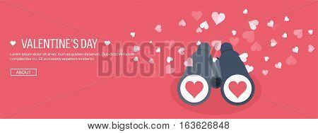 Vector illustration. Flat background with binoculars. Love, hearts. Valentines day. Be my valentine. 14 february.