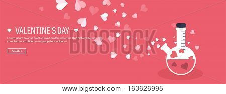 Vector illustration. Flat background with potion. Love, hearts. Valentines day. Be my valentine. 14 february.