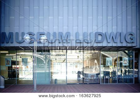 COLOGNE, GERMANY - NOVEMBER 24: The entrance of the Museum Ludwig an art exhibition of modern art of the 20th and 21st century on November 24, 2016 in Cologne.