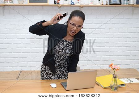 Businesswoman young miss important contacts via telephone.