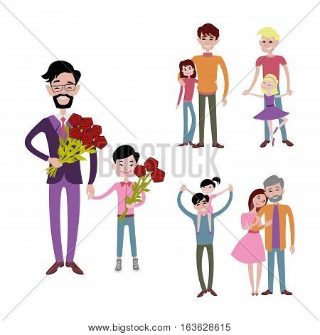Father carrying kids together vector character relationship. Happy parenting cartoon love concept. Young person playing with family illustration.