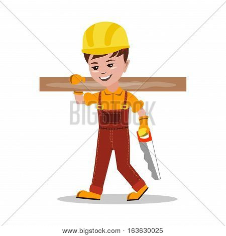 Kids builder character vector illustration. Happy occupation profession flat children. Colorful teenager engineer architect. Construction job people.