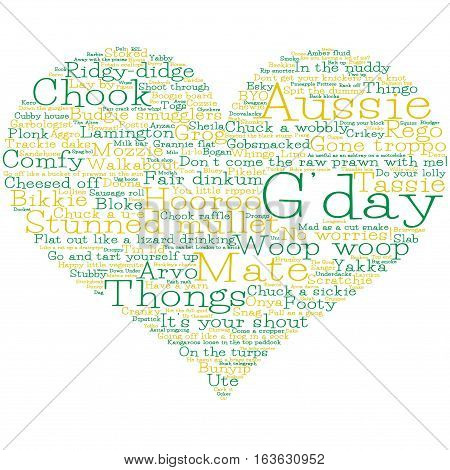 Heart made from Australian slang words in vector format.