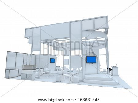 Trade Show Booth. 3D Render Isolated