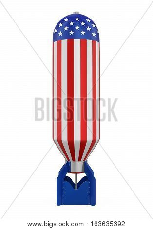 Atomic Bomb with United States Flag isolated on white background. 3D render