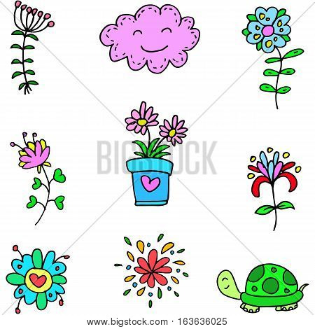 Vector art spring colordul item doodles collection
