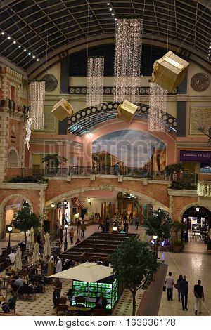 DUBAI, UAE - DEC 10: Christmas decor at Mercato Mall in Dubai, UAE, as seen on Dec 10, 2016. The mall is designed to look like a Mediterranean town during the European Renaissance.