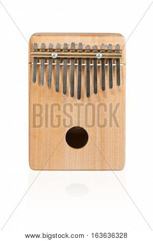 Wooden ethnic African instrument Kalimba isolated on white background