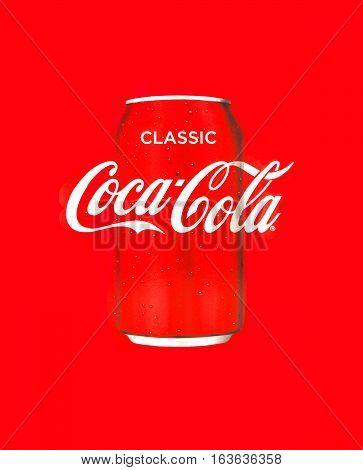 SWINDON UK - DECEMBER 30 2016: Classic Coca-Cola Can on multi pack box