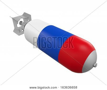 Atomic Bomb with Russian Flag isolated on white background. 3D render