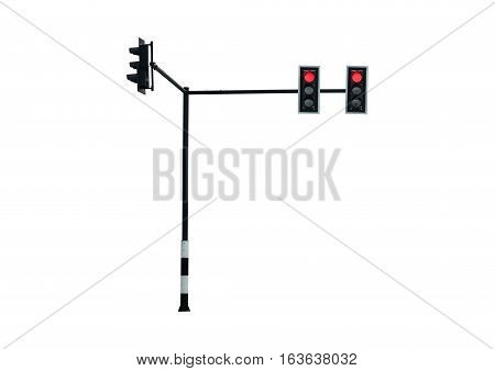 Red Color Traffic Light Isolate On White Background