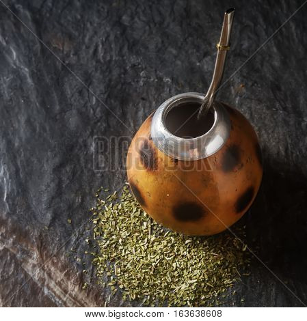 Traditional South American Yerba Mate Tea In The Calabash Circle