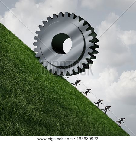 Technology eliminating jobs as technological progress is reducing employment as a giant machine gear rolling down a cliff with people running away as a business or economical metaphor with 3D illustration elements.