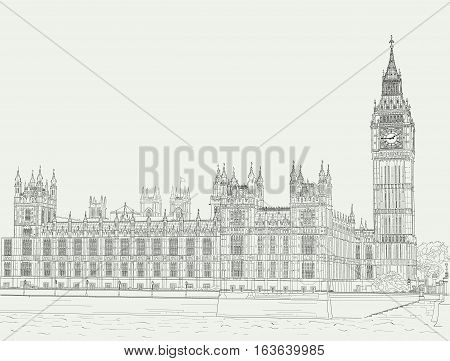 Ink drawing of the Palace of Westminster and Big Ben tower.