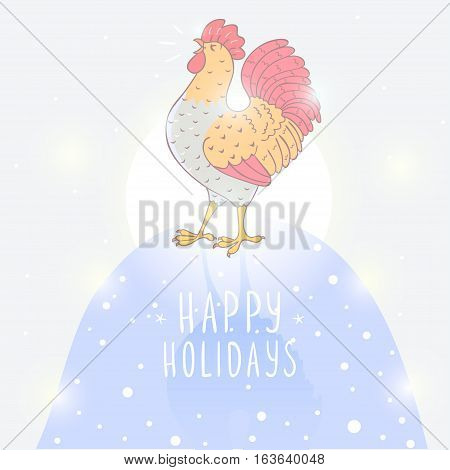 Stylish illustration with beautiful and sweet singing cockerel. Rooster 2017 symbol on the Chinese calendar
