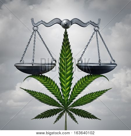 Marijuana law concept as a cannabis leaf holding up a justice scale as a medicinal or recreational drug legalization social issue symbol with 3D illustration elements.