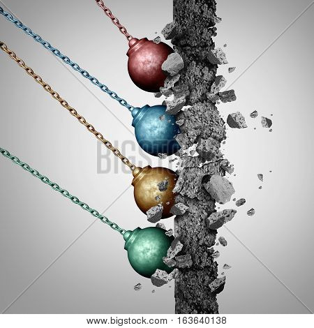 Group power concept as an organized set of diverse wrecking balls breaking down a cement wall together in solidarity with a common strategy as a business metaphor for society removing barriers with 3D illustration elements.