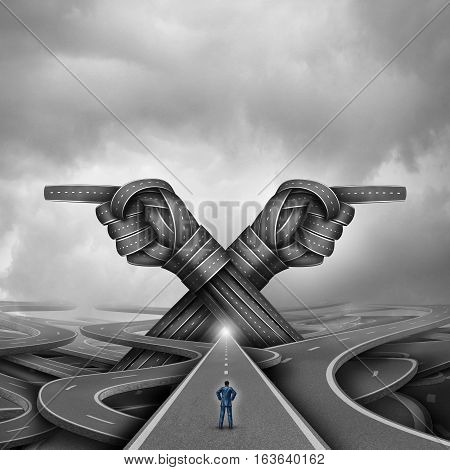 Crossroads concept of choice and choosing a right or left pathway or road to success as a confused businessman being advised to go into two directions with roads shaped as pointing hands with 3D illustration elements.