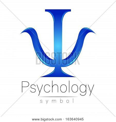 Modern logo of Psychology. Psi. Creative style. Logotype in vector. Design concept. Brand company. Blue color letter on white background. Symbol for web, print, card, flyer. Bright