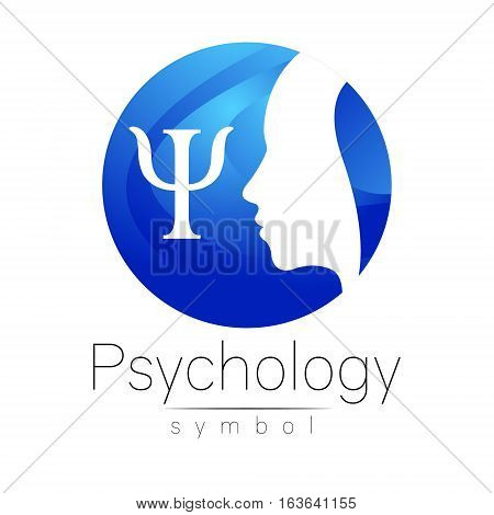 Modern head Logo sign of Psychology. Profile Human. Letter Psi. Creative style. Symbol in vector. Design concept. Brand company. Blue color isolated on white background. Icon for web, print, logotype.