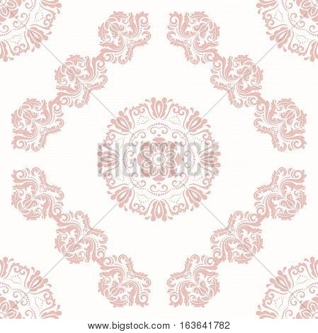 Oriental vector classic pink pattern. Seamless abstract background with repeating elements. Orient background