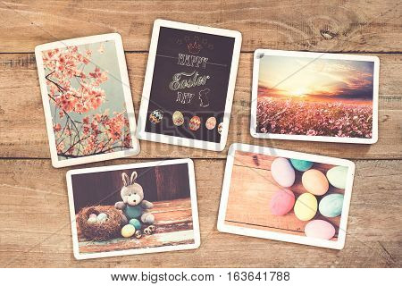 Photo album in remembrance and nostalgia of Happy easter on wood table. instant photo of vintage camera - vintage and retro style