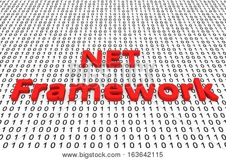 net framework in the form of binary code, 3D illustration