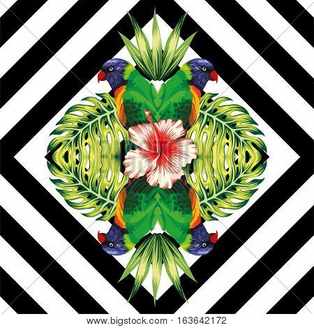 Tropical bird parrot plants and hibiscus flower in the trendy mirror style on black and white geometric background vector pattern
