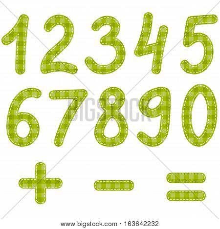 green textured numbers from zero to nine