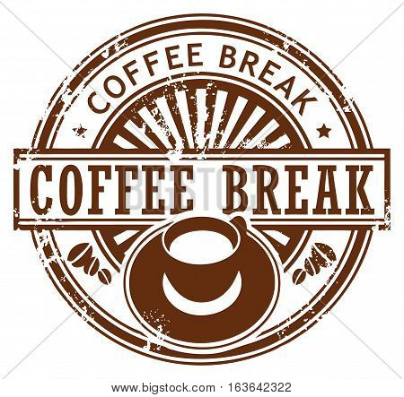 Grunge stamp with coffee cup and the text coffee break written inside the stamp, vector illustration