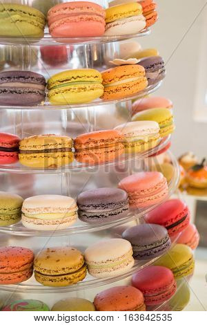 Cake macaron macaroon or colorful almond cookies stock photo