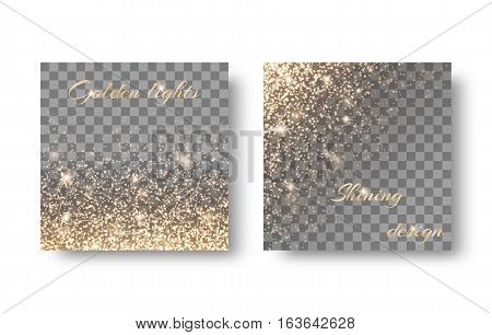 Golden reflections on a transparent background for a festive design