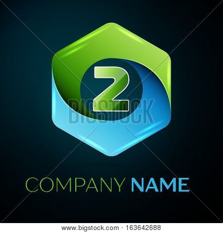 Number two vector logo symbol in the colorful hexagonal on black background. Vector template for your design