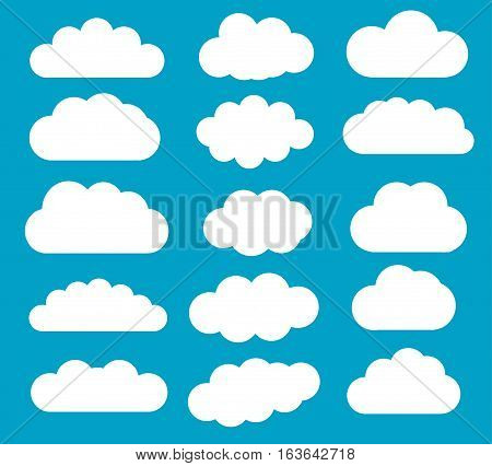Cloud vector shapes isolated over blue background cartoon vector clouds set